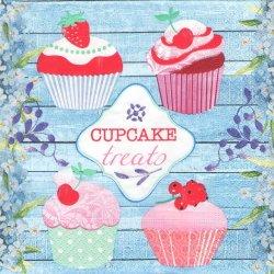ペーパーナプキン カップケーキ・トリートわすれな草と4つのカップケーキ 33cm 1枚 デコパージュ用 バラ売り 紙ナプキン paper+design