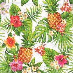 Pineapple & Palmleaves パイナップルとパームツリー ハワイ 1枚 バラ売り 33cm 1枚 ペーパーナプキン デコパージュ用 紙ナプキン ti-flair