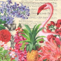 ペーパーナプキン トロピカル・ガーデン フラミンゴ 33cm 1枚 デコパージュ用 バラ売り 紙ナプキン paper+design