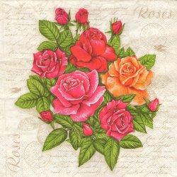 ペーパーナプキン ポストカードと薔薇 33cm 1枚 デコパージュ用 バラ売り 紙ナプキン daisy