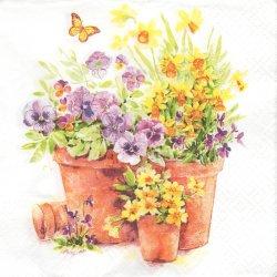 ペーパーナプキン 鉢植えの花 1枚 33cm バラ売り デコパージュ用 紙ナプキン paw