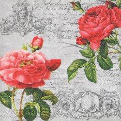 ペーパーナプキン 赤い薔薇 クラシック・ローズ 33cm 1枚 デコパージュ用 バラ売り 紙ナプキン ti-flair