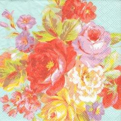ペーパーナプキン ペインテッド・ローズ 薔薇のブーケ 水色 33cm 1枚 デコパージュ用 バラ売り 紙ナプキン ambiente