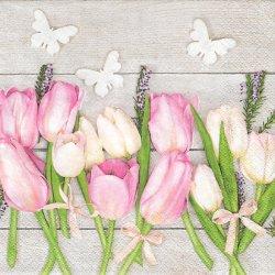 ペーパーナプキン 白木にピンクと白のチューリップ 33cm 1枚 デコパージュ用 バラ売り 紙ナプキン daisy