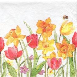 ペーパーナプキン 水彩画の春の花 チューリップ 33cm 1枚 デコパージュ用 バラ売り 紙ナプキン ambiente