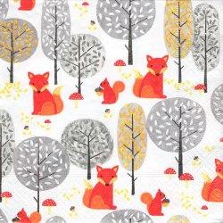 ペーパーナプキン 秋 マッシュルームをさがす狐とリス マッシュルーム・ピッカーズ 33cm 1枚 デコパージュ用 バラ売り 紙ナプキン paper+design