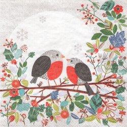 Robins in Branch ロビンズ・イン・ブランチ 枝の小鳥 1枚 バラ売り 33cm デコパージュ用 バラ売り 紙ナプキン ambiente
