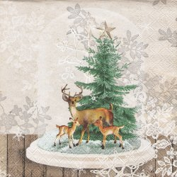 ペーパーナプキン ガラスドームの鹿 クリスマス 33cm 1枚 デコパージュ用 バラ売り 紙ナプキン ambiente
