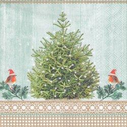 ペーパーナプキン ツリーとサンタ帽子の小鳥 クリスマス 33cm 1枚 デコパージュ用 バラ売り 紙ナプキン ambiente