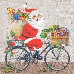 ペーパーナプキン 自転車サンタ クリスマス 33cm 1枚 デコパージュ用 バラ売り 紙ナプキン ambiente