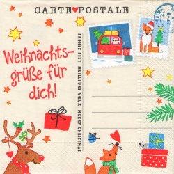 ペーパーナプキン クリスマス・ポストカード 33cm 1枚 デコパージュ用 バラ売り 紙ナプキン paper+design