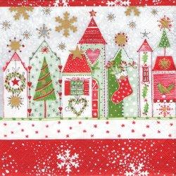 Christmas road クリスマス・ロード お家 1枚 ばら売り 33cm ペーパーナプキン デコパージュ用 Paper+design