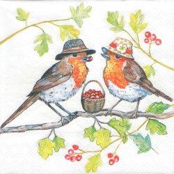 ペーパーナプキン 帽子の小鳥 33cm 1枚 デコパージュ用 バラ売り 紙ナプキン ambiente
