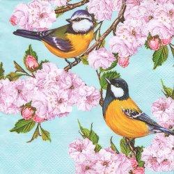 ペーパーナプキン 桜の花にとまる2羽の鳥 33cm 1枚 デコパージュ用 バラ売り 紙ナプキン daisy