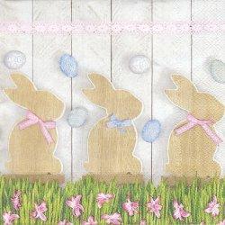 ペーパーナプキン Wooden Rabbits うさぎ イースター 33cm 1枚 デコパージュ用 バラ売り 紙ナプキン daisy