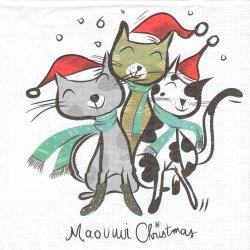 ペーパーナプキン Pierre Bourrigault 3匹のクリスマス・キャット 猫 33cm 1枚 デコパージュ用 バラ売り 紙ナプキン ppd