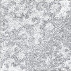 ペーパーナプキン エンボス エレガンス・レース 銀 シルバー 33cm 1枚 デコパージュ用 バラ売り 紙ナプキン Ambiente