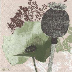 北欧 ペンティック VALMU ダークグリーン ペーパーナプキン 33cm 1枚 デコパージュ用 バラ売り 紙ナプキン PENTIK