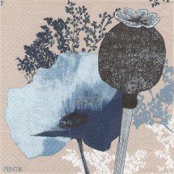 北欧 ペンティック VALMU インディゴ ペーパーナプキン 33cm 1枚 デコパージュ用 バラ売り 紙ナプキン PENTIK