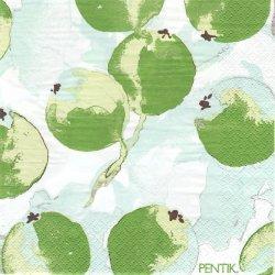 北欧 ペンティック OMENAPUU 大きな実 グリーン ペーパーナプキン 33cm 1枚 デコパージュ用 バラ売り 紙ナプキン PENTIK