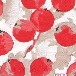 北欧 ペンティック OMENAPUU 大きな実 赤 ペーパーナプキン 33cm 1枚 デコパージュ用 バラ売り 紙ナプキン PENTIK