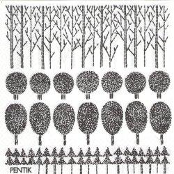 北欧 ペンティック METSIKKO 森の木々 モノクロ ペーパーナプキン 33cm 1枚 デコパージュ用 バラ売り 紙ナプキン PENTIK