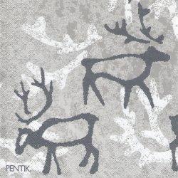 北欧 ペンティック SAAGA トナカイ シルバーグレー ペーパーナプキン 33cm 1枚 デコパージュ用 バラ売り 紙ナプキン PENTIK