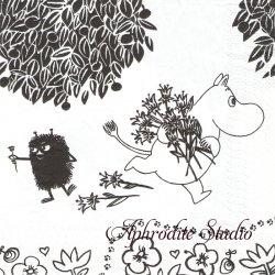 北欧 ムーミン Flower Pickers モノクロ キャラクター 1枚 バラ売り 33cm ペーパーナプキン デコパージュ 紙ナプキン MOOMIN