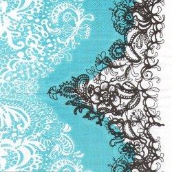 北欧 ヴァリラ MANDARINI BLUE レース模様 ペーパーナプキン 1枚 33cm デコパージュ バラ売り 紙ナプキン VALLILA