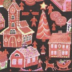 北欧 ヴァリラ PIPARIKYLA お菓子の家 クリスマス ペーパーナプキン 1枚 33cm デコパージュ バラ売り 紙ナプキン VALLILA
