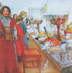 北欧 カール・ラーション クリスマス・イブ ペーパーナプキン 1枚 33cm デコパージュ バラ売り 紙ナプキン Carl Larsson