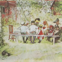 北欧 カール・ラーション 木もれ日の朝食 ペーパーナプキン 1枚 33cm デコパージュ バラ売り 紙ナプキン Carl Larsson
