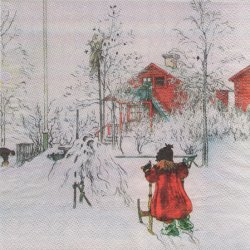 北欧 カール・ラーション The Yard And Wash House ブリタがそりに乗って ペーパーナプキン 1枚 33cm デコパージュ バラ売り 紙ナプキン Carl Larsson