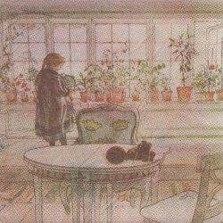 北欧 カール・ラーション Flowers on the windowsill 花の窓辺 ペーパーナプキン 1枚 33cm デコパージュ バラ売り 紙ナプキン Carl Larsson
