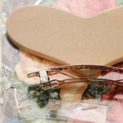 木製 ハート型 ヘアバレッタ ハンドメイドユース