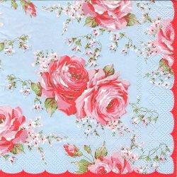 廃番 キャス・キッドソン クラシックローズ ブルー  1枚 バラ売り 33cm デコパージュ 紙ナプキン Cath Kidston