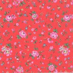 廃番 キャス・キッドソン ピンクの小花 レッド 1枚 バラ売り 33cm デコパージュ ペーパーナプキン Cath Kidston