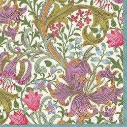 25cm 廃番 ウィリアム・モリス 百合のスワール 白 1枚 バラ売り William Morris ペーパーナプキン Caspari カスパリ