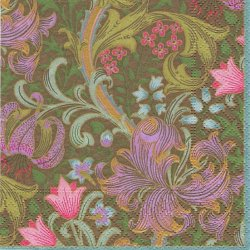 25cm 廃番 ウィリアム・モリス 百合のスワール 深緑 1枚 バラ売り ペーパーナプキン William Morris Caspari カスパリ