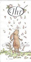 1パック10枚入 BLOSSOMS AND BUNNIES アニタ・ジェラーム 花とうさぎ 21.5cm角 ポケットペーパーハンカチ 紙ハンカチ Ihr