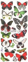 クリスマスカラーの蝶のステッカー 1シート ヴィクトリアン シール ラベル ビクトリアン Victorian ラッピング