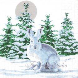 廃盤 Snow Rabbit 雪兎 うさぎ バニー 1枚 ばら売り 33cm ペーパーナプキン デコパージュ用 ppd