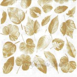 廃盤 Leaves in the Wind 金色の葉っぱ 1枚 ばら売り 33cm ペーパーナプキン デコパージュ用 ppd