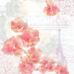 TINTED DREAMS ピンクの花とエッフェル塔 1枚 ばら売り 33cm ペーパーナプキン デコパージュ用 Ambiente