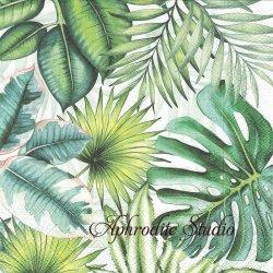 TROPICAL LEAVES トロピカル 南国の葉っぱ 1枚 ばら売り 33cm ペーパーナプキン デコパージュ用 Ambiente