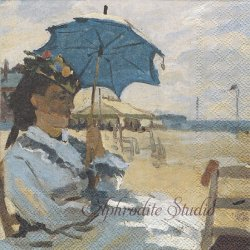 BEACH AT TROUVILLE モネ THE NATIONAL GALLERY 1枚 ばら売り 33cm ペーパーナプキン デコパージュ用 Ambiente