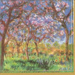 MONET:PRIMTEMPS A GIVERNY モネ ジヴェルニーの桜 1枚 ばら売り 33cm ペーパーナプキン デコパージュ用 Ihr