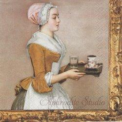 Schokoladenmadchen The Chocolate Girl Jean-Etienne Liotard ドレスデン美術館 1枚 ばら売り 33cm 紙ナプキン HOME FASHION