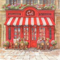 PARIS CAFE パリのカフェ 風景 1枚 ばら売り 33cm ペーパーナプキン デコパージュ用 Ambiente