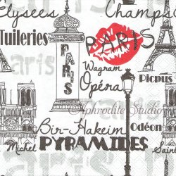 PARISIAN NEIGHBORHOODS パリ・テイスト 1枚 ばら売り 33cm ペーパーナプキン デコパージュ用 Ambiente